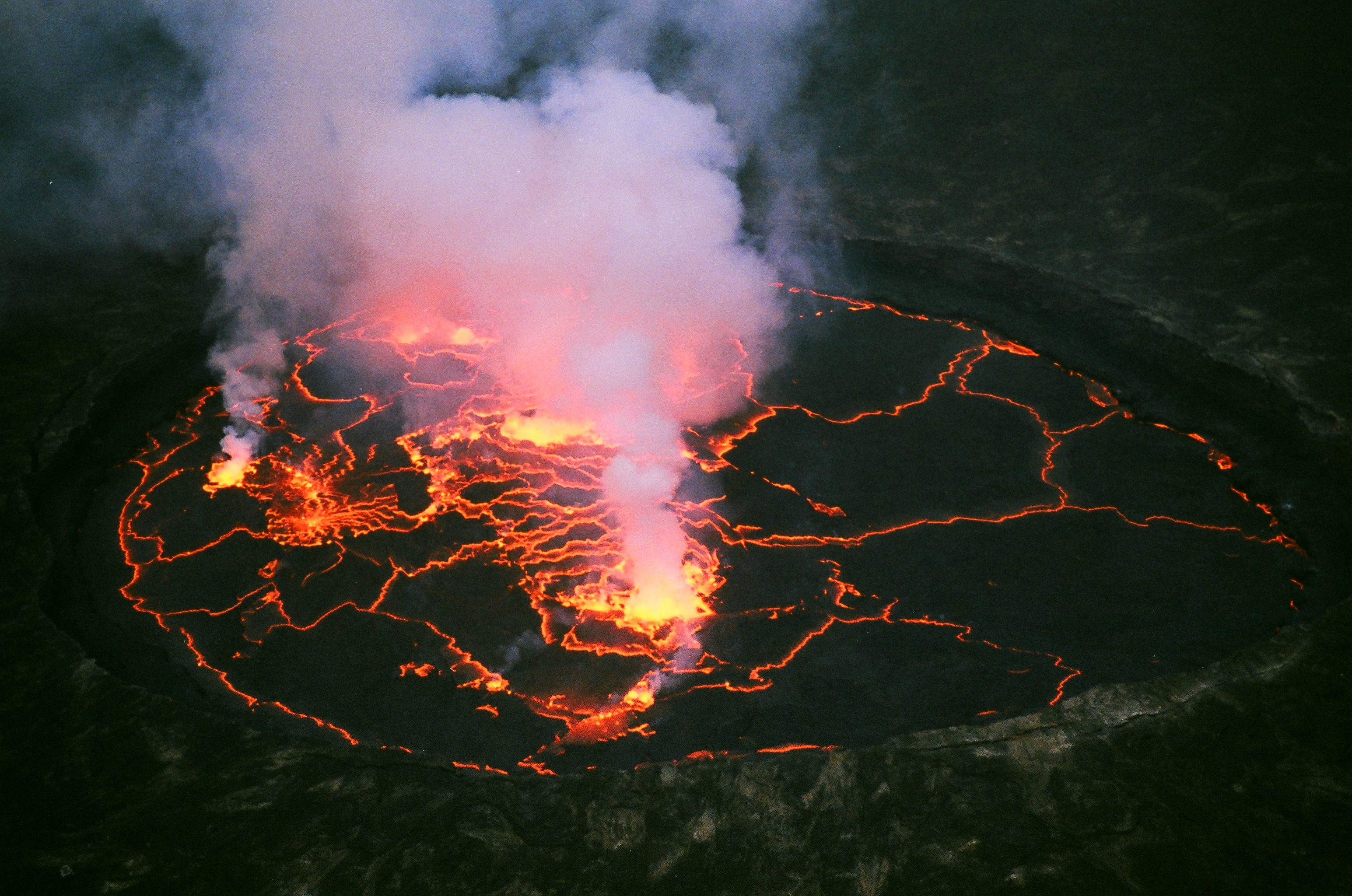 I climbed an active volcano and camped the night on the rim of the crater.