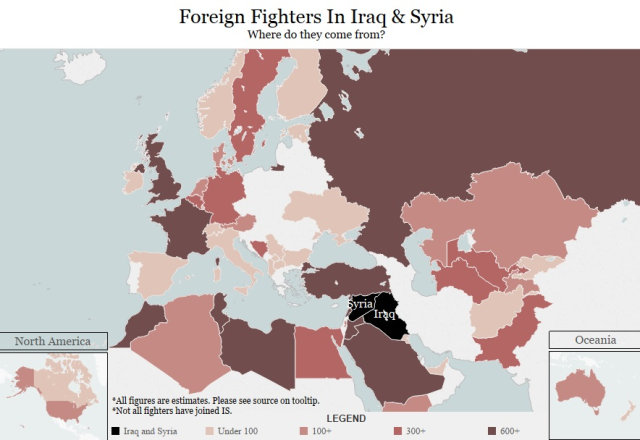 Foreign Fighters in Iraq and Syria (Credit: Radio Free Europe)